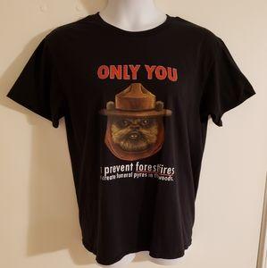 Mens XL Ewok Smokey Bear Prevent Forest Fires Tee